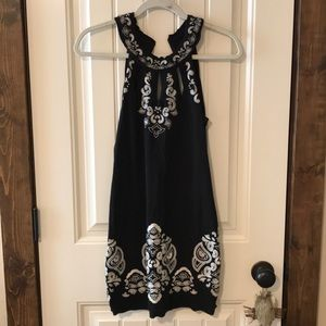 Black Embroidered Free People Bodycon Dress